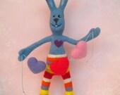 Valentine Art Doll, Needle Felted, Handmade, Rabbit, Bunny, Blue, My Funny Bunny Valentine, Wool
