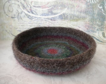 Felted Whatnot/Ring Bowl/Tray, Handmade, Fulled, Wool, Muted Colors