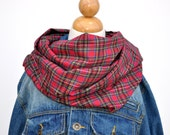 Red Plaid Flannel Infinity Scarf Holiday Infinity Scarf - Red Scarf - Cowl - Circle Scarf