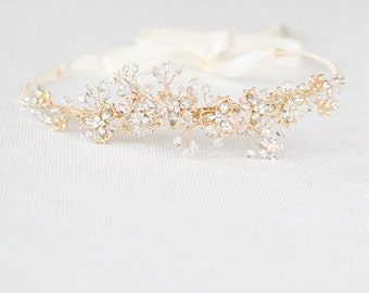 Bridal Halo, Grecian Headpiece, Rhinestones Headband, Crytals Embellished Headband, Tiara, Bridal Headpiece,