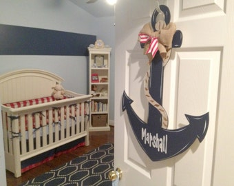 Anchor Door Decor Wood Art Anchor Anchor Door Hanger Anchor Wall Art & Anchor door hanger wreath decor hand painted door hanger Pezcame.Com