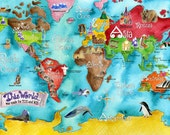 WORLD Map for kids 18 x 24 inch turquoise watercolor art poster by Marley Ungaro