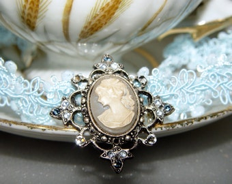 Lovely Vintage Style Cameo Light Blue Lace Ribbon Chocker Necklace