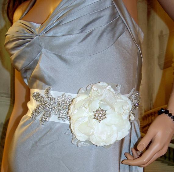Floral Fantasy - Ivory Cream Satin Rhinestone Beaded Bbridal Sash, Bridal Sash, Crystal Sash, Flower Sash, Wedding Dress Sash