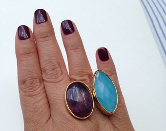 Two dual gemstone adjustable statement ring
