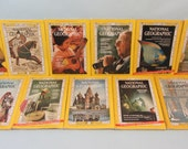 11 Vintage 1966 National Geographic Magazines - Ads Photos Paper Ephemera