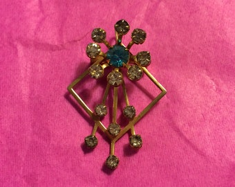 Grogeous Vintage Deco Brooch Pendant Gold Tone Metal with Rhinestones Lot 6