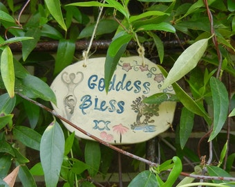 Goddess Bless Ceramic Garden Sign - tree with water