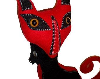 Primitive Gothic Vintage Style Black and Red Felt Cat