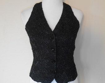 90's  black beaded snap button up vest
