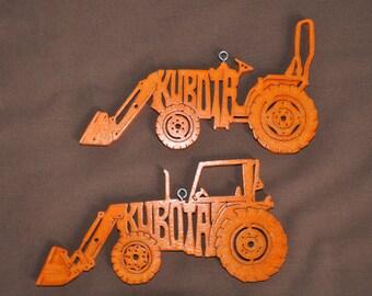 2 Kubota Farm Tractor  Orange  Wooden Toy Ornament Hand Cut