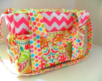 Pink Diaper Bag - Paisley Diaper Bag - Messenger Bag - Zipper Closure - Diaper Bag - Girl Diaper Bag - Nappy Bag