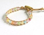Pastel Beaded Natural Leather Bracelet - The Taylor II