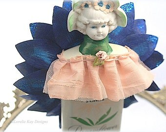 Dream Flower Art Doll Assemblage Sugar Sweet Mixed Media Sculpture Altered Talc Tin