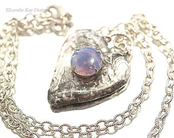 Moonstone Heart Necklace With Custom Box Unique Gift Box Love Heart Necklace