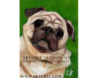 PuG Art. Pug Illustration. Art. Print. Forest Green. Pug Portrait. Signed by the Artist - Kiss a PuG.