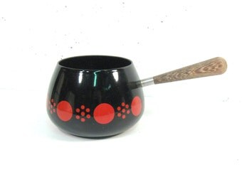 Vintage Enamel fondu pot, black with red dot design
