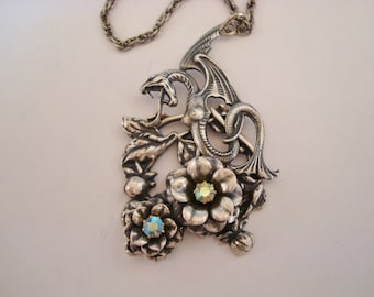 Dragon Necklace, Garden Fantasy Dragon, Sterling Silver Ox Finish, Metal Bonded NOT Glued Together, USA, Handmade, Choice Of Chain Length