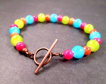 Colorful Gemstone and Glass Bracelet, Blue Green Orange Pink and Copper Beaded Bracelet, FREE Shipping U.S.
