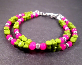 SALE - Double Strand Bracelet, Hot Pink Green and Silver Beaded Bracelet, FREE Shipping U.S.