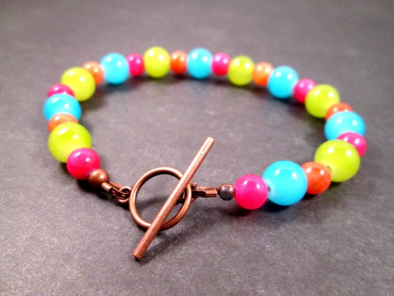 Colorful Gemstone and Glass Bracelet, Blue Green Orange Pink and Silver Beaded Bracelet, FREE Shipping U.S.