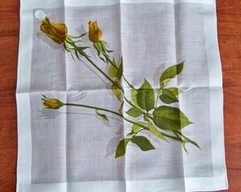Vintage Yellow Rose Handkerchief - Stoffels MWT