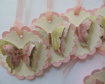Butterfly Gift Tags - Pink, Green and Ivory - Favor Tags - Bridal Showers - Birthday Parties - Set of 6