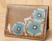 Wallet - Leather Wallet - Small Wallet - Front Pocket Wallet - Card wallet - Brown Leather - Mighty Fold in Belle with turquoise wild roses