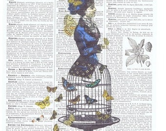 Bird Cage,birdcage.butterflies.Steam punk.hat.Collage.Birthday Gift.Vintage.Antique Book Page Print.Home Deco.nursery.child.fantasy.whimsy