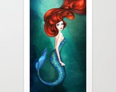 Mermaid Art - Little Mermaid Ariel Fairytale Wall Art - Ocean Green Blue - Painting by Annya Kai - 5x7, 8x10, 12x16 + Large Prints