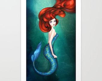 Mermaid Art - Little Mermaid Ariel Fairytale Wall Art - Ocean Green Blue - Painting by Annya Kai - 5x7, 8x10, 12x16 + Large Prints