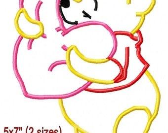 P00H Bear Valentine's Day Applique Design Machine Embroidery Pattern 5x7 6x10 7x11 INSTANT DOWNLOAD