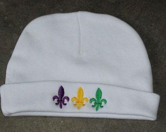 Mardi Gras White Beanie Hat Fleur de lis
