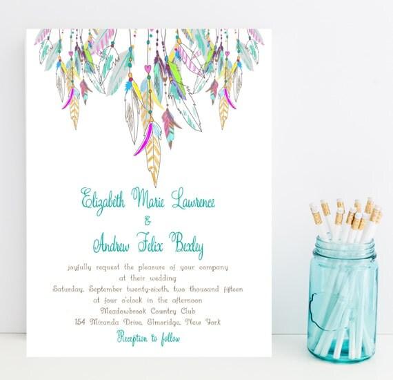 Native American Wedding Invitations: Feather Wedding Invitation Native American By Whimsicalprints