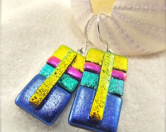 Artistic jewelry, Dichroic Earrings, dichroic jewelry, dichroic glass, fused glass,artisan earrings,striped jewelry,handcrafted,wedding gift