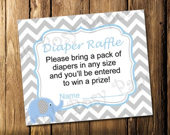 Printable Blue Elepant Boy Baby Shower Diaper Raffle Tickets - Instant Download