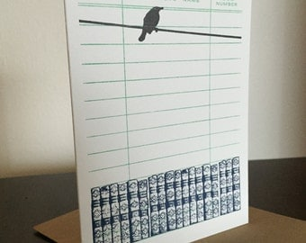 Books and Bird - Letterpress Printed Greeting Card