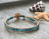 Single Leather Wrap Bracelet with Teal Agates - Boho Stacking Jewelry