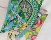 Amy Butler Floral Bunting, Shabby Chic Banner. 5 Large Flags. Wedding or Party Banner, Photo Prop, Decoration. Nursery Decor, Kids Rooms...