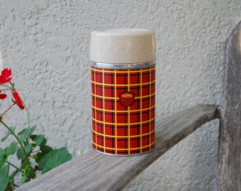 Vintage Red Yellow and Black Thermos
