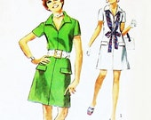 Zip Front Aline Dress 70s Pattern. Simplicity 8874. Casual Day Office
