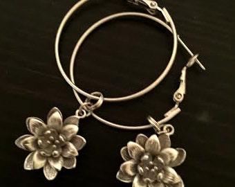 FREE SHIPPING - Handmade Silver Lotus Hoop Earrings