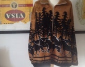 RESERVED for Linnea Felty Horse Fleece Jacket Zipped Stallion Wild Ranch Rodeo