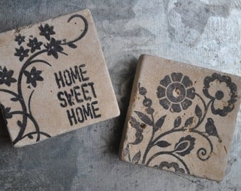 Home Sweet Home & Floral Magnets or Ornaments. Set of 2. Hostess Gift, Teacher Gift