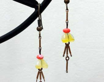 Flower Earrings Yellow Givre Vintage Glass Bead Flower w/ Coral Faceted Bead w/ Antique Brass Metal Chain Dangle Lightweight Metal Earrings