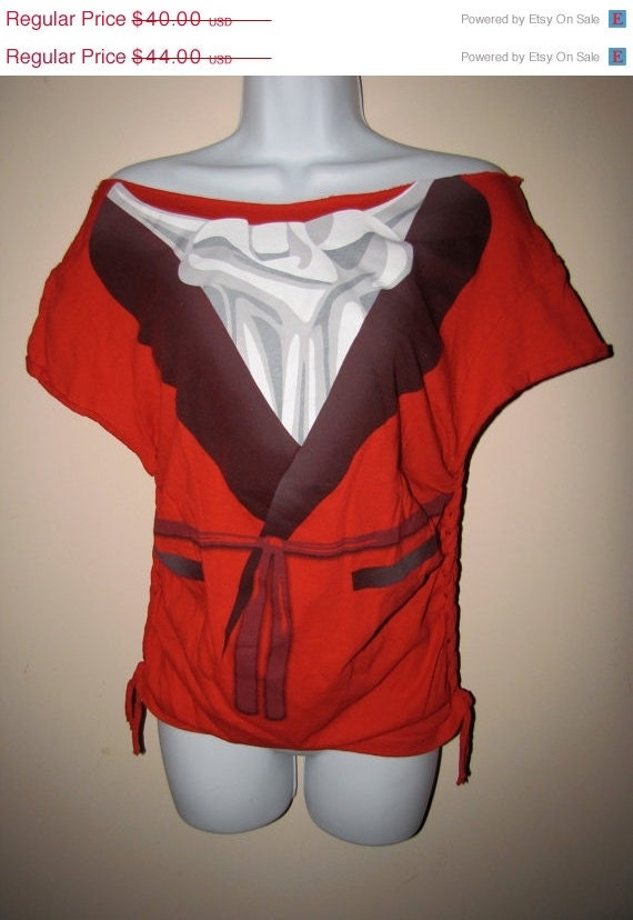 Clearance items 70% off - red SMOKING JACKET cut couture shredded t shirt size LARGE L