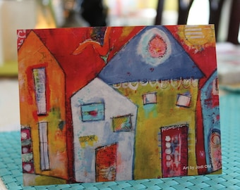 Funky house flat note card in green, white, orange and red  by Jodi ohl