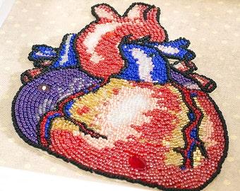 Anatomical Human Heart // Mixed Media Art // Beaded Painting // Bead Embroidered // Human Anatomy // Beadwork // Medical