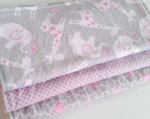 Burp Cloth Gift Set for Baby Girl - Modern Essentials - Pink Gray & White Jungle Trio - Set of 3 Burp Rags for Baby Girl
