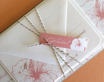 TWINE COLLECTION- Deposit Vintage Hawaiian invitation, pink and off white